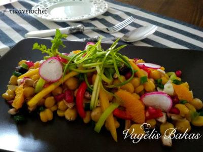 Ρεβίθια σαλάτα με ελαφριά σος πορτοκαλιού (Vegan)