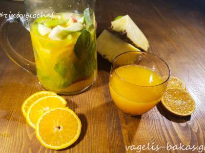 Φρέσκος χυμός πορτοκάλι με φρούτα και ανθρακικό